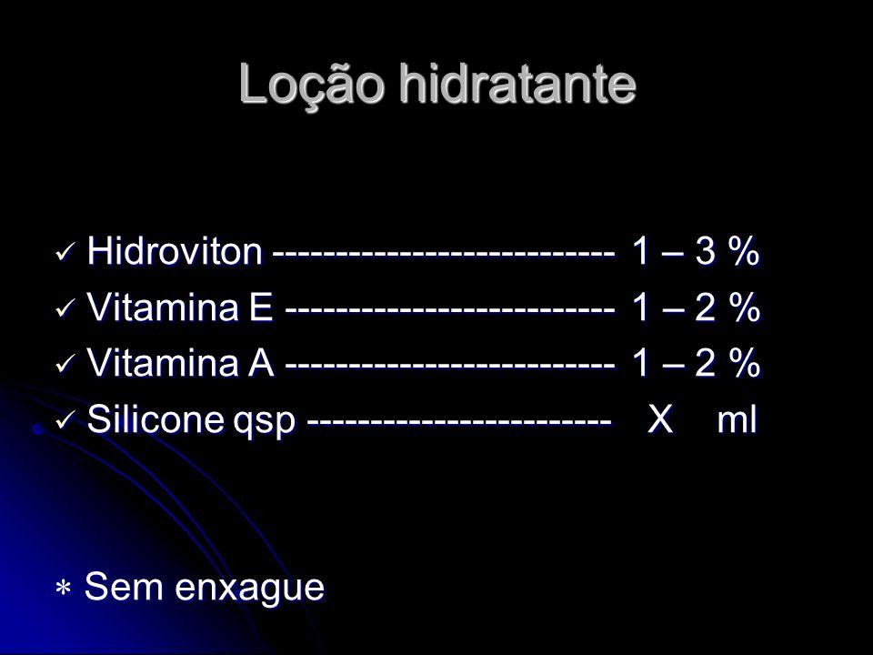 Loção hidratante Hidroviton --------------------------- 1 – 3 %