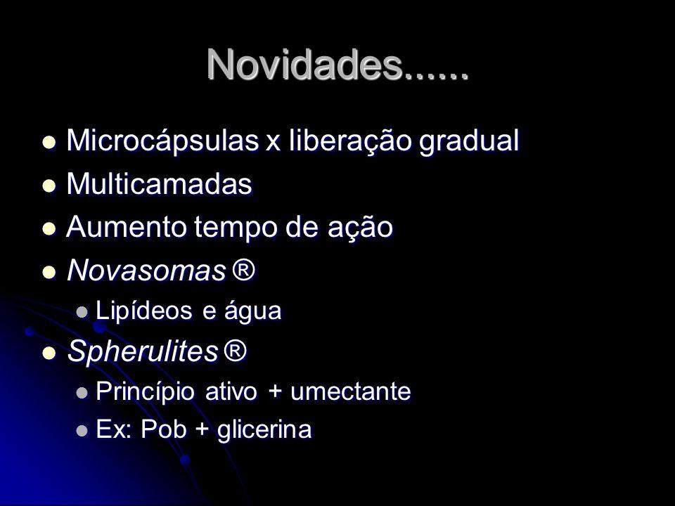 Novidades...... Microcápsulas x liberação gradual Multicamadas