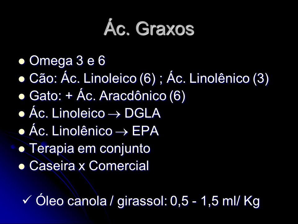 Ác. Graxos Omega 3 e 6 Cão: Ác. Linoleico (6) ; Ác. Linolênico (3)