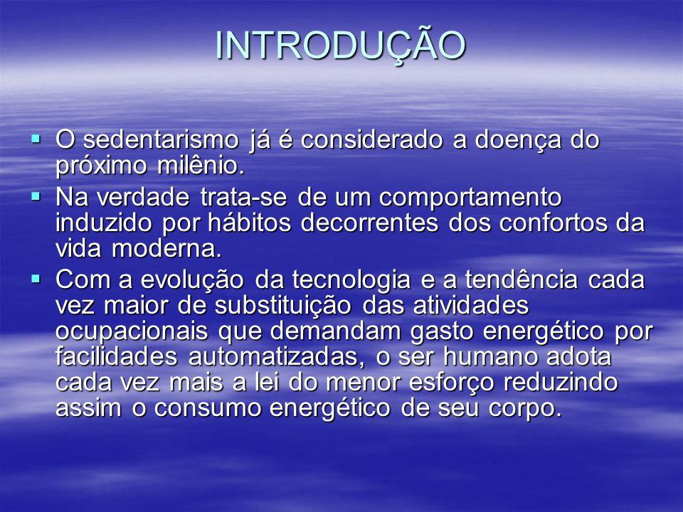 INTRODUÇÃO O sedentarismo já é considerado a doença do próximo milênio.