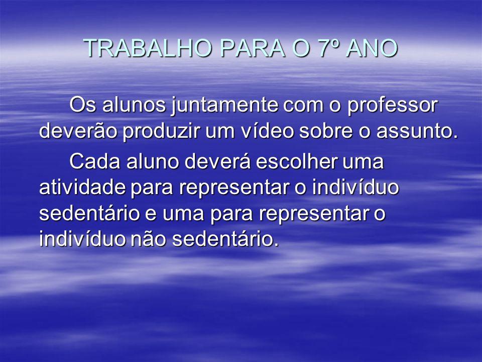 TRABALHO PARA O 7º ANO Os alunos juntamente com o professor deverão produzir um vídeo sobre o assunto.