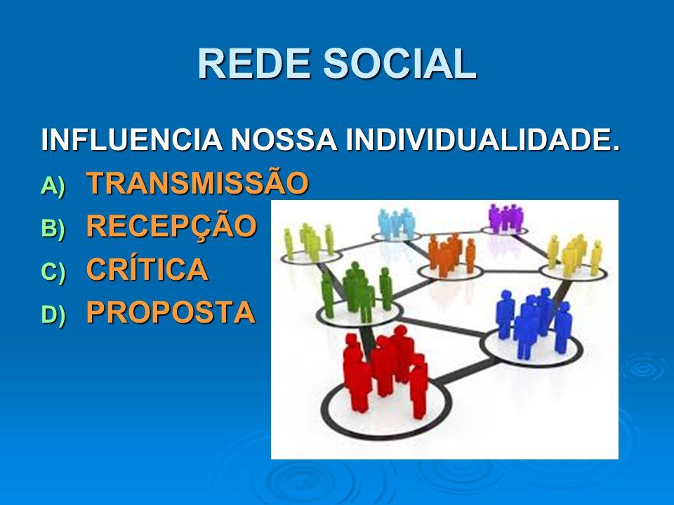REDE SOCIAL INFLUENCIA NOSSA INDIVIDUALIDADE. TRANSMISSÃO RECEPÇÃO