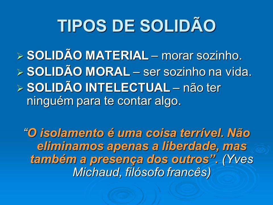 TIPOS DE SOLIDÃO SOLIDÃO MATERIAL – morar sozinho.