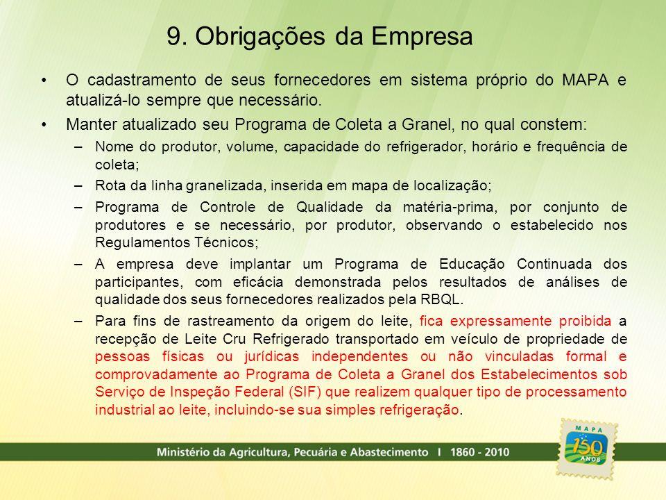 9. Obrigações da Empresa O cadastramento de seus fornecedores em sistema próprio do MAPA e atualizá-lo sempre que necessário.