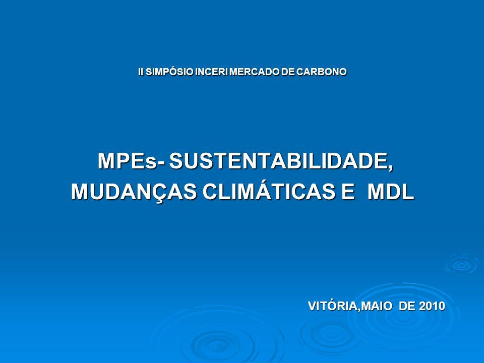 MPEs- SUSTENTABILIDADE, MUDANÇAS CLIMÁTICAS E MDL