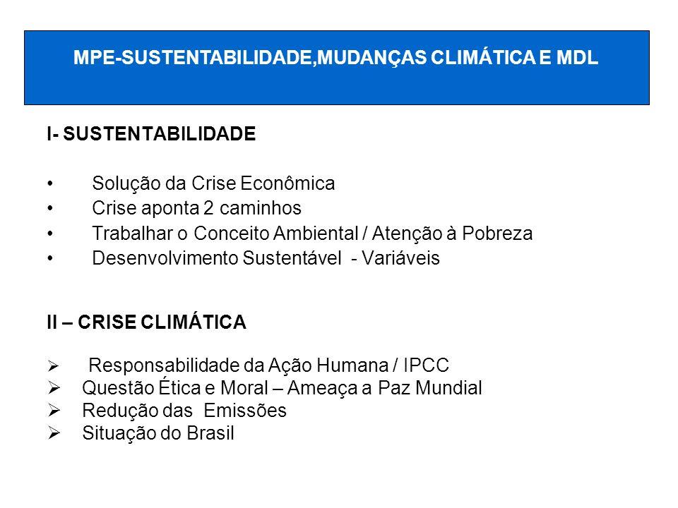 MPE-SUSTENTABILIDADE,MUDANÇAS CLIMÁTICA E MDL
