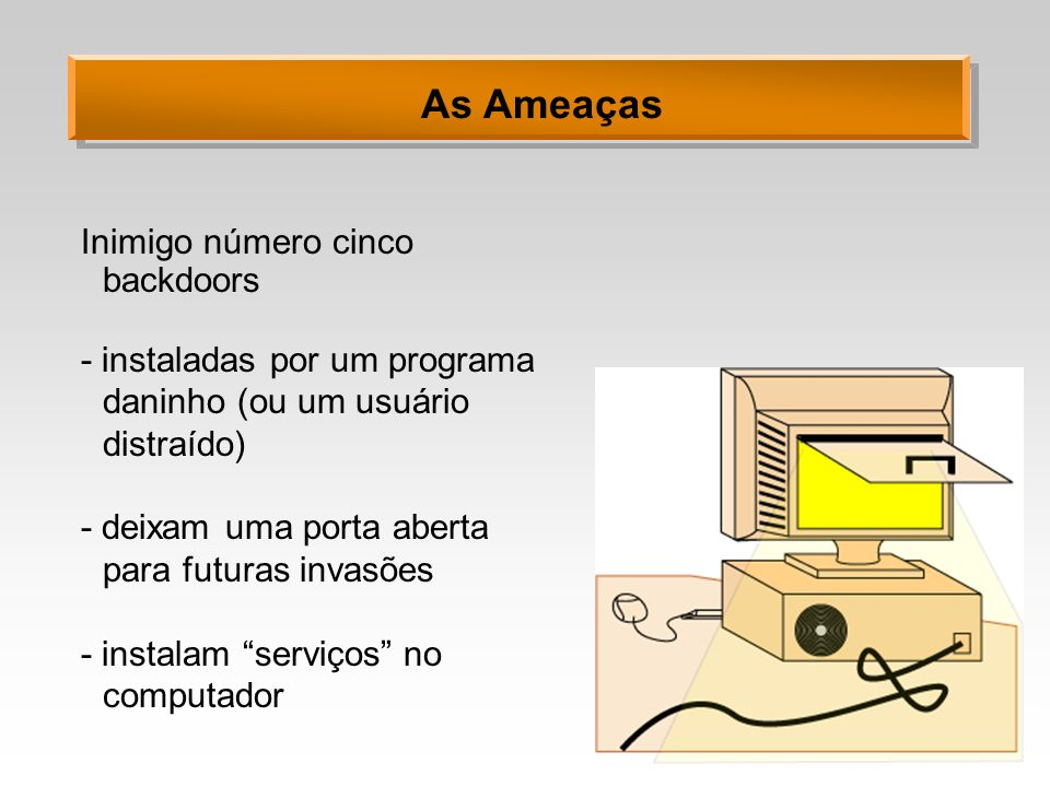 As Ameaças Inimigo número cinco backdoors