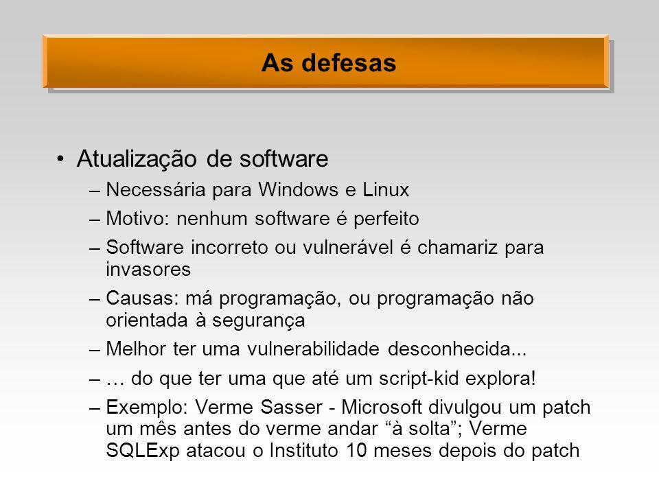 As defesas Atualização de software Necessária para Windows e Linux