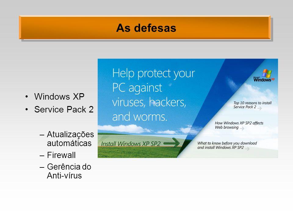 As defesas Windows XP Service Pack 2 Atualizações automáticas Firewall