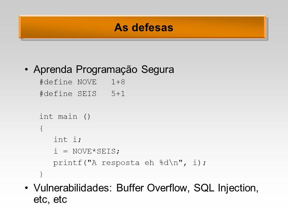 As defesas Aprenda Programação Segura
