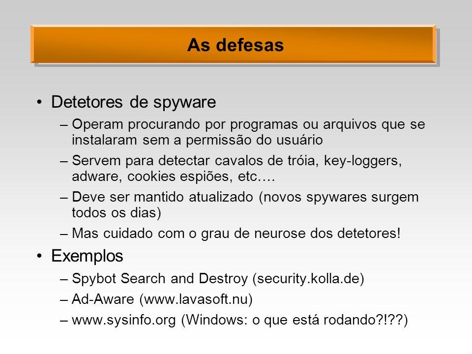 As defesas Detetores de spyware Exemplos
