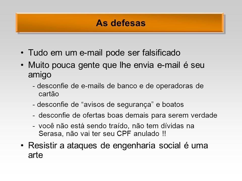 As defesas Tudo em um e-mail pode ser falsificado