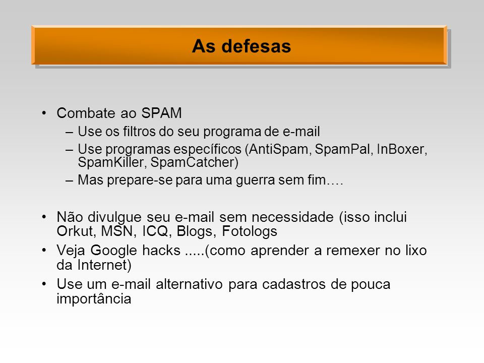 As defesas Combate ao SPAM