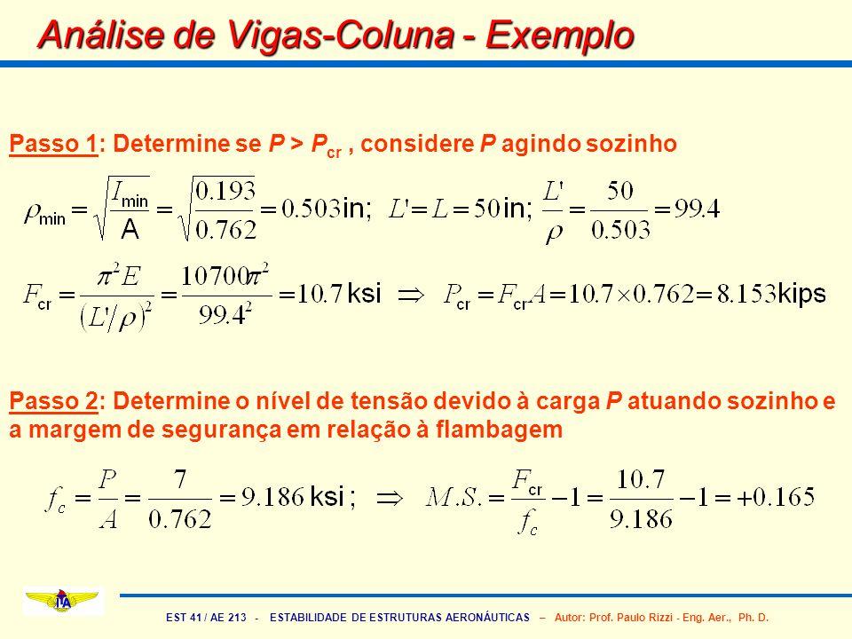 Análise de Vigas-Coluna - Exemplo