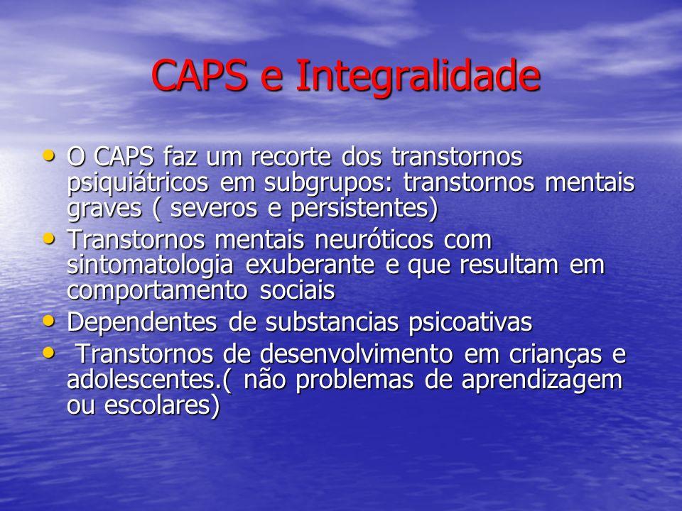 CAPS e Integralidade O CAPS faz um recorte dos transtornos psiquiátricos em subgrupos: transtornos mentais graves ( severos e persistentes)