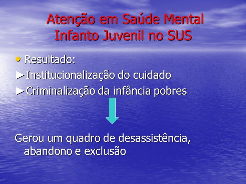 Atenção em Saúde Mental Infanto Juvenil no SUS