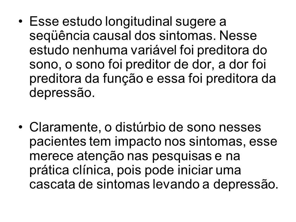 Esse estudo longitudinal sugere a seqüência causal dos sintomas