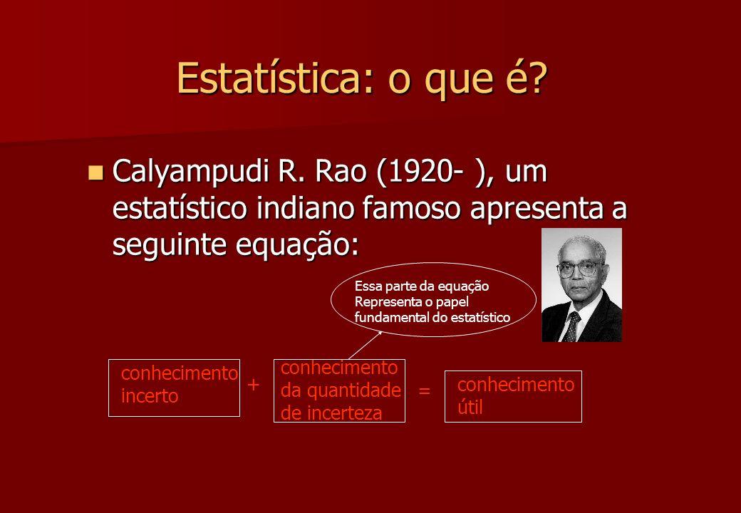 Estatística: o que é Calyampudi R. Rao (1920- ), um estatístico indiano famoso apresenta a seguinte equação: