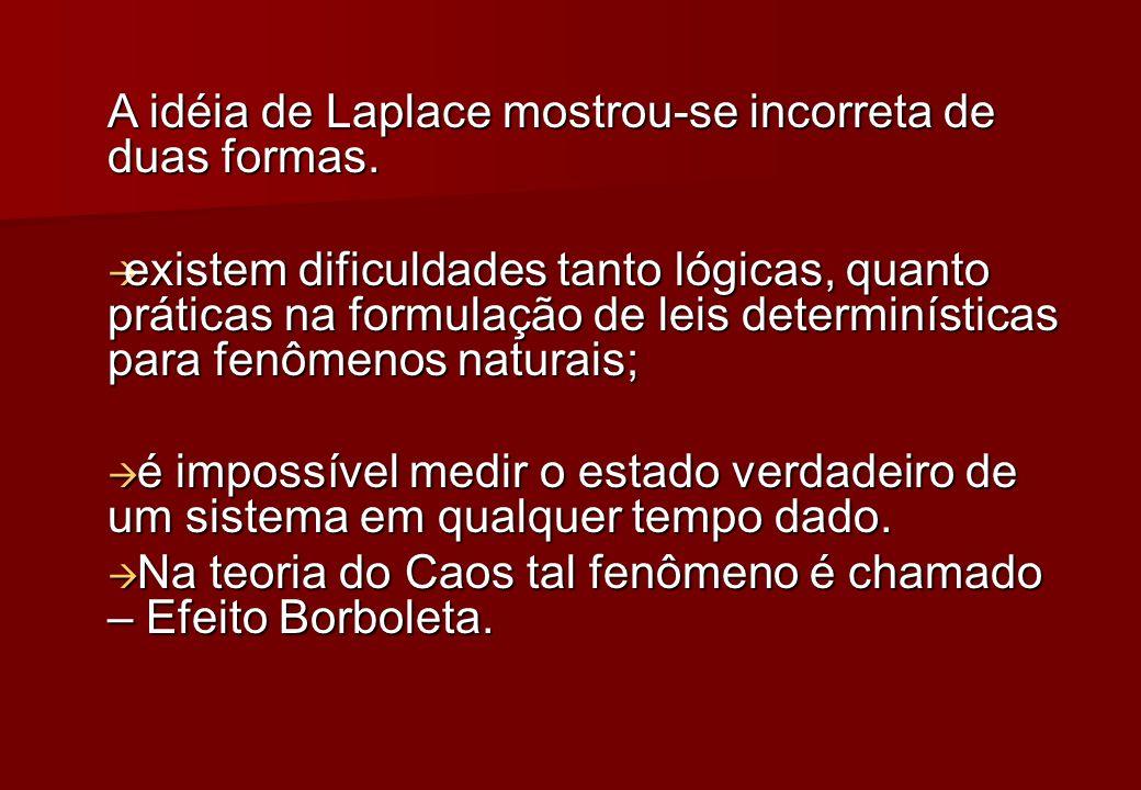 A idéia de Laplace mostrou-se incorreta de duas formas.