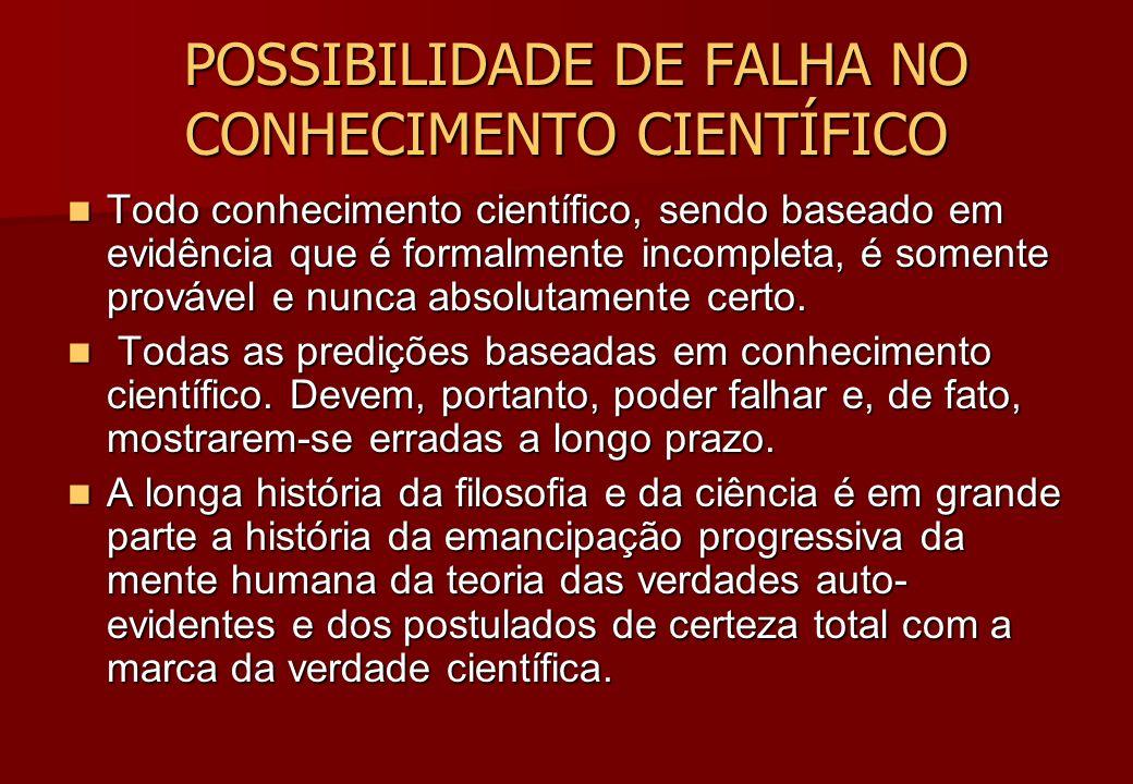 POSSIBILIDADE DE FALHA NO CONHECIMENTO CIENTÍFICO