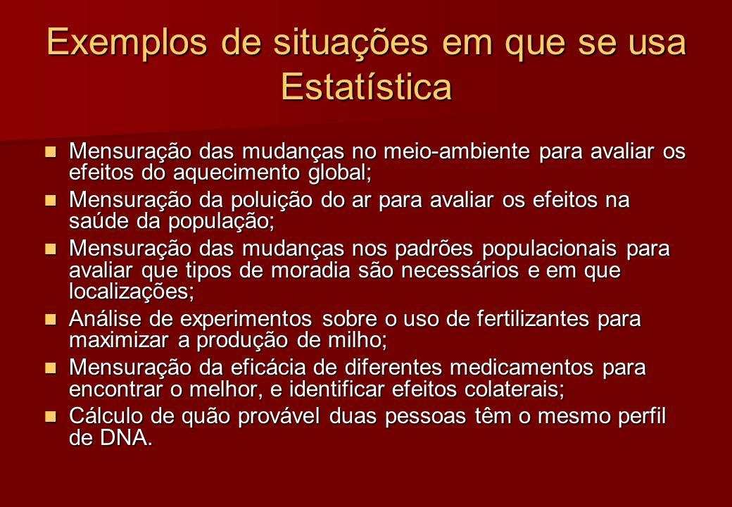 Exemplos de situações em que se usa Estatística