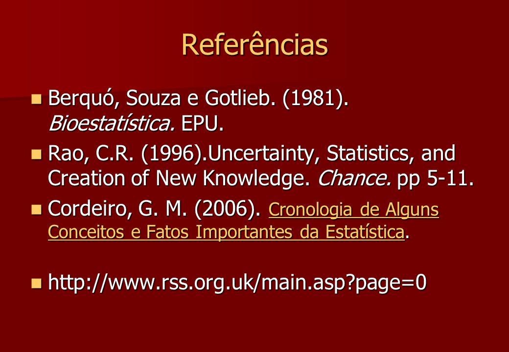 Referências Berquó, Souza e Gotlieb. (1981). Bioestatística. EPU.