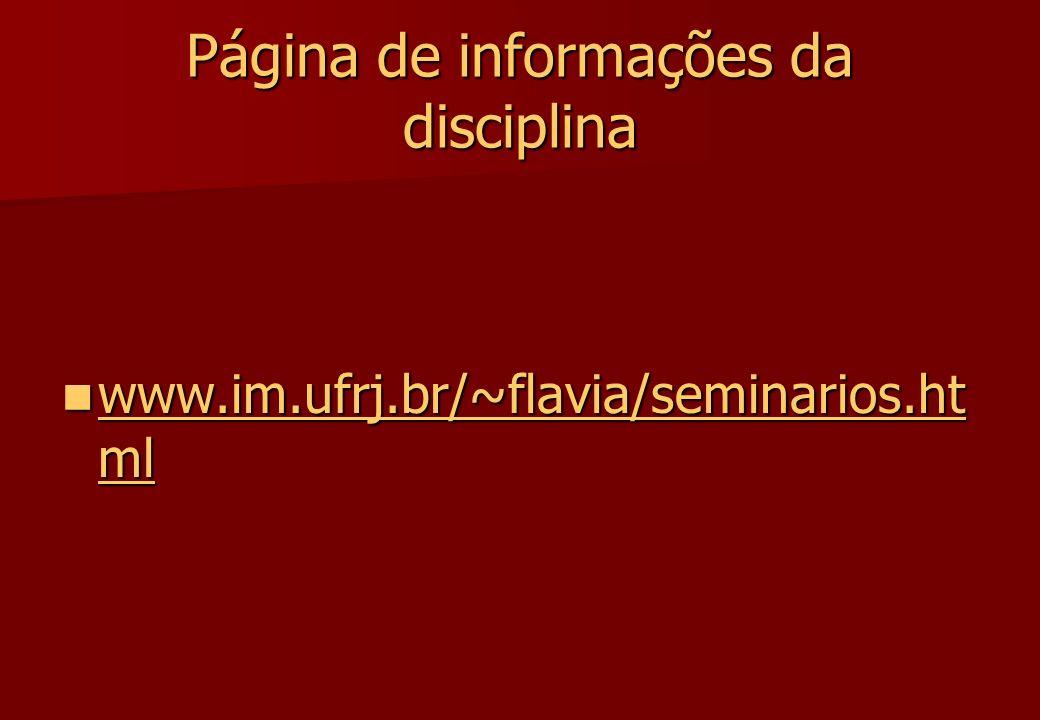 Página de informações da disciplina