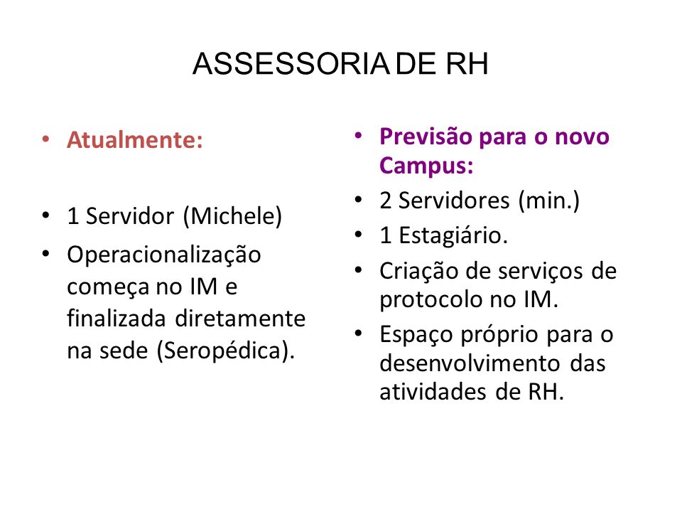 ASSESSORIA DE RH Atualmente: 1 Servidor (Michele)