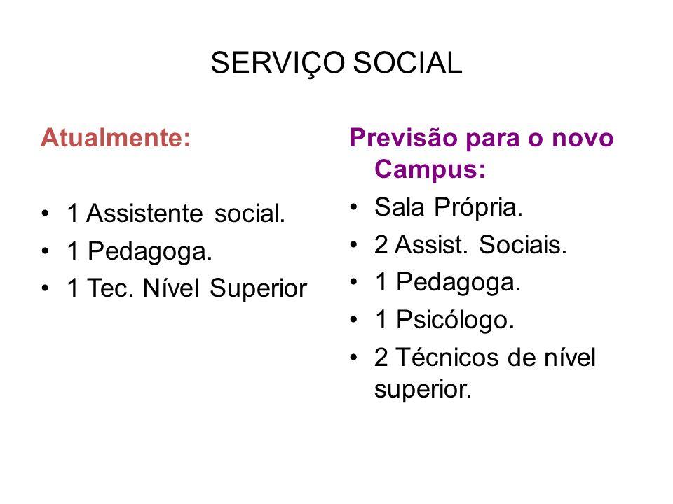 SERVIÇO SOCIAL Atualmente: 1 Assistente social. 1 Pedagoga.
