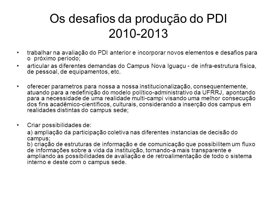 Os desafios da produção do PDI 2010-2013