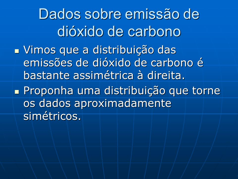 Dados sobre emissão de dióxido de carbono