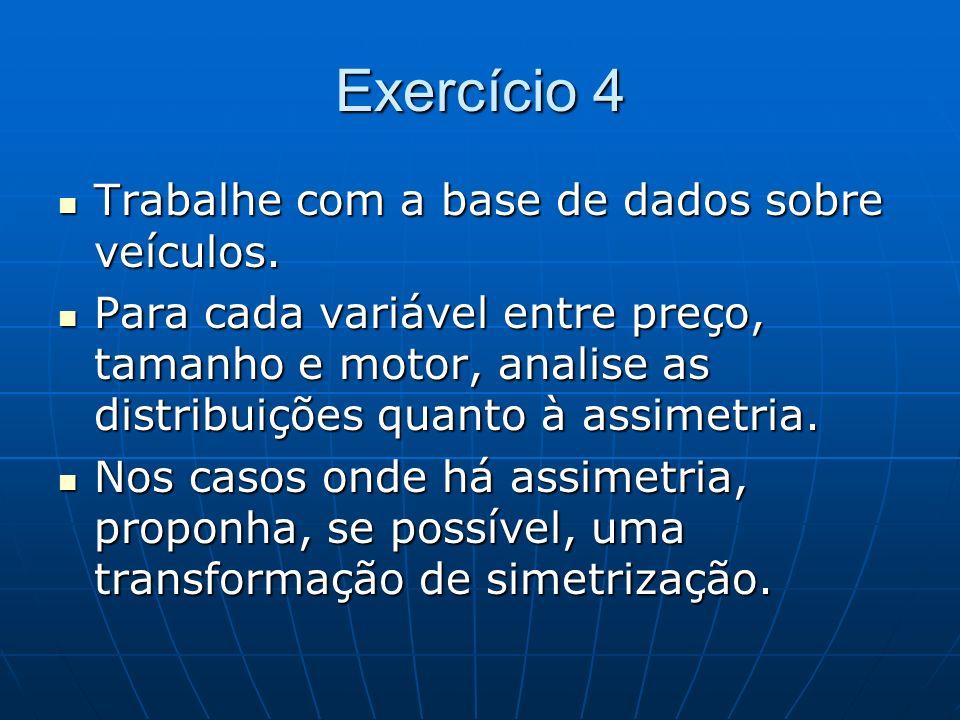 Exercício 4 Trabalhe com a base de dados sobre veículos.