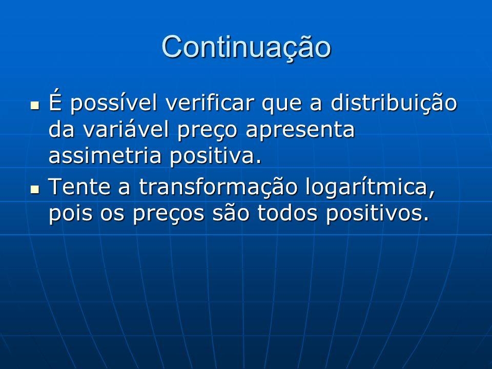 Continuação É possível verificar que a distribuição da variável preço apresenta assimetria positiva.