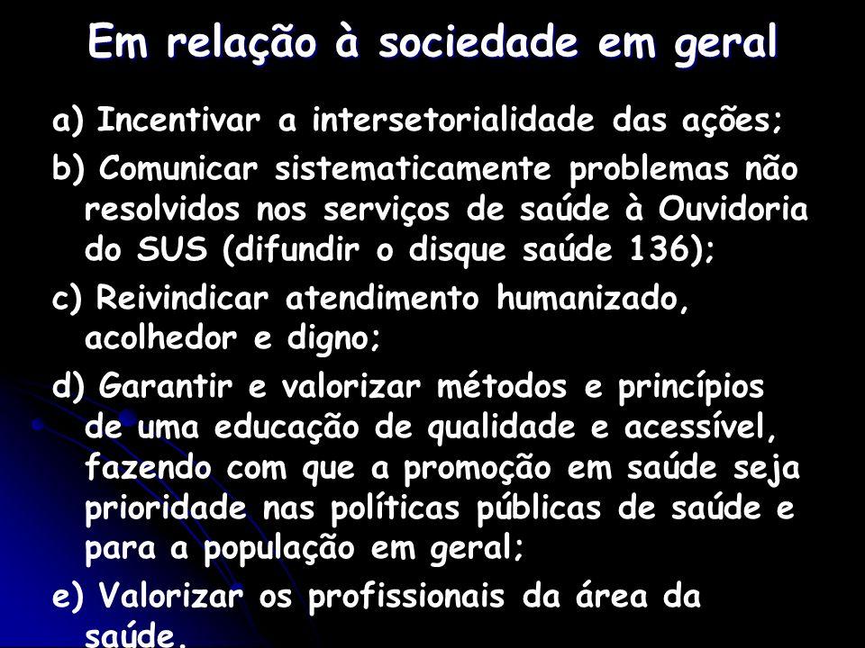 Em relação à sociedade em geral