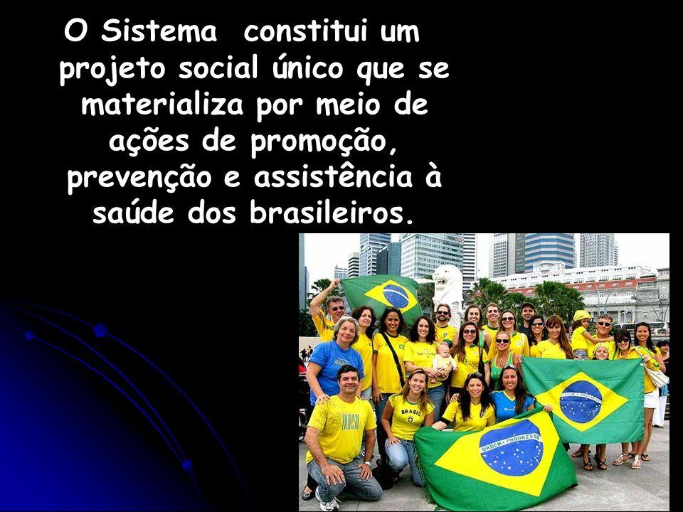 O Sistema constitui um projeto social único que se materializa por meio de ações de promoção, prevenção e assistência à saúde dos brasileiros.