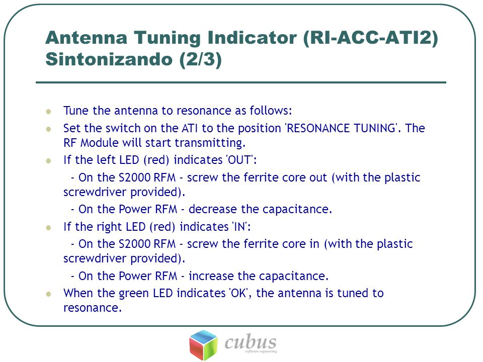 Antenna Tuning Indicator (RI-ACC-ATI2) Sintonizando (2/3)