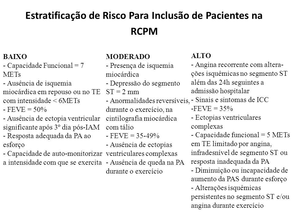 Estratificação de Risco Para Inclusão de Pacientes na RCPM