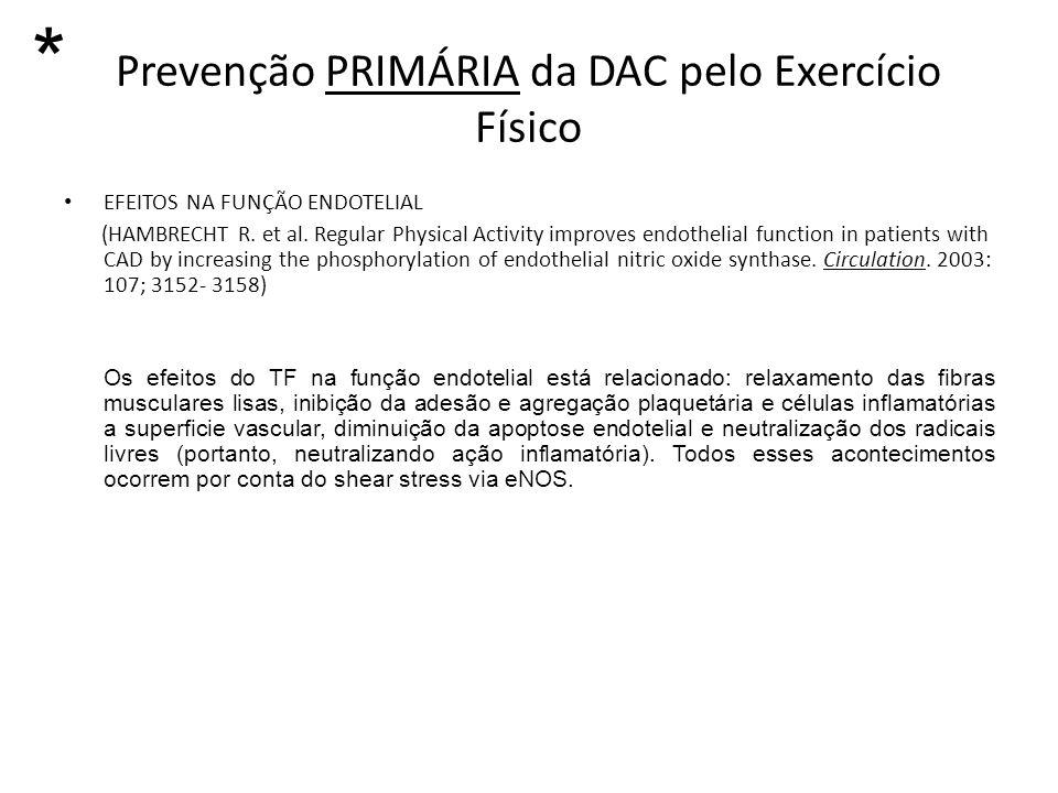 Prevenção PRIMÁRIA da DAC pelo Exercício Físico