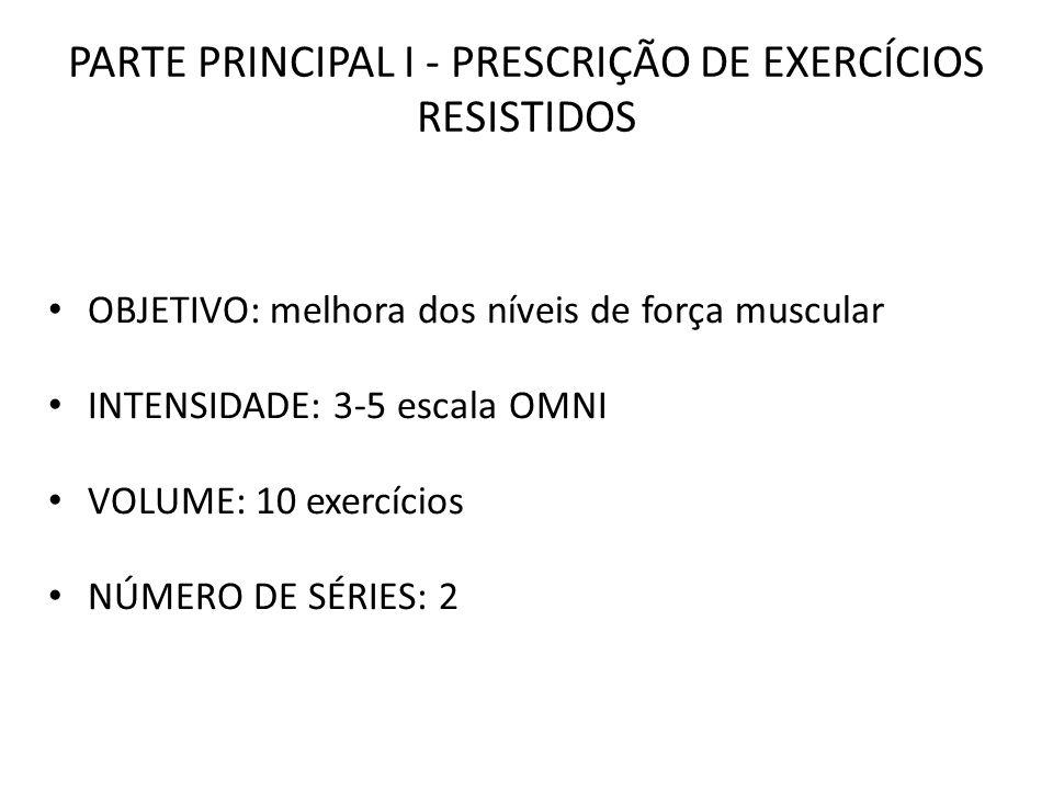 PARTE PRINCIPAL I - PRESCRIÇÃO DE EXERCÍCIOS RESISTIDOS