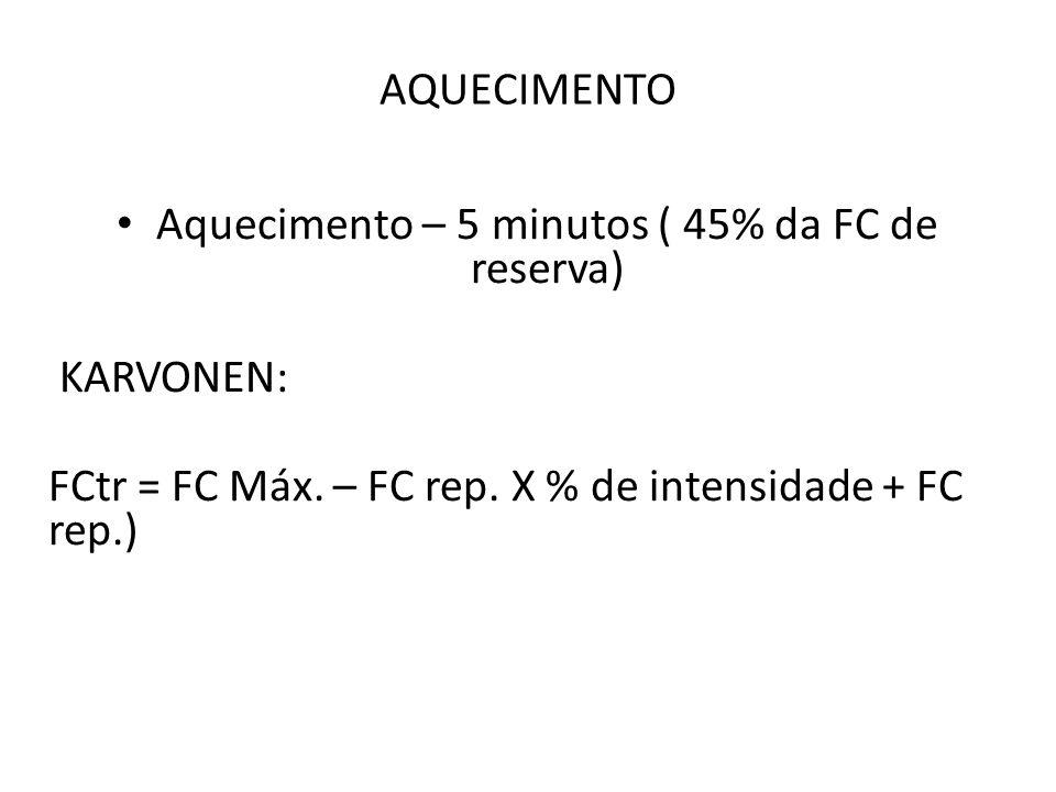 Aquecimento – 5 minutos ( 45% da FC de reserva)