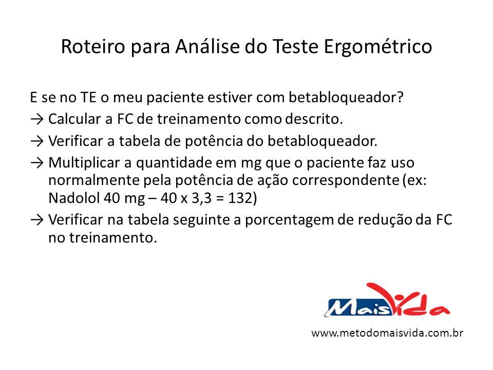 Roteiro para Análise do Teste Ergométrico