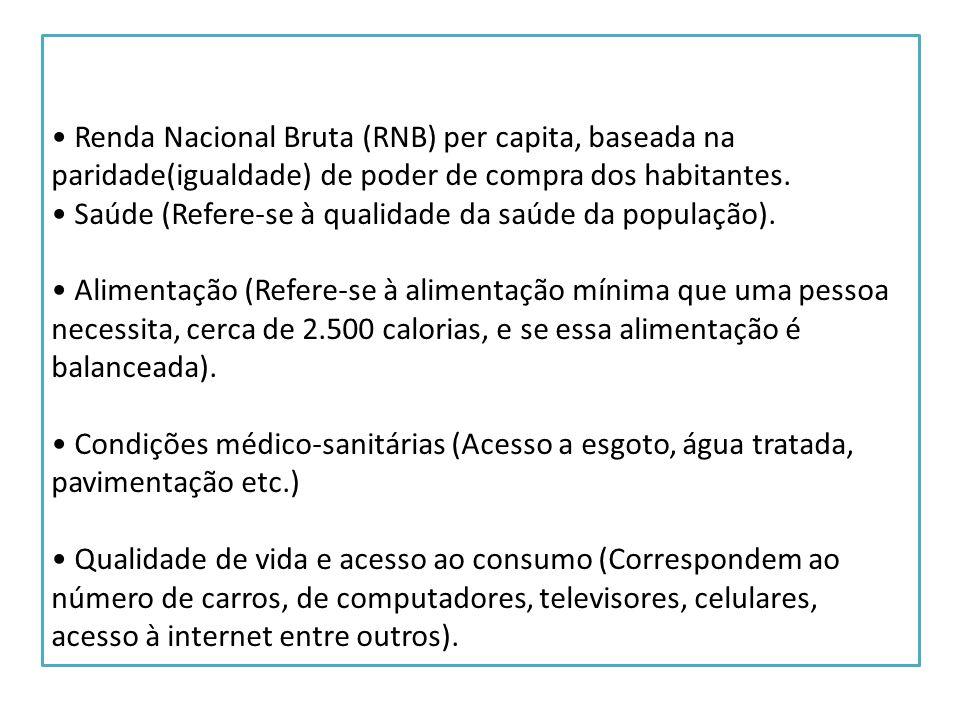• Renda Nacional Bruta (RNB) per capita, baseada na paridade(igualdade) de poder de compra dos habitantes.