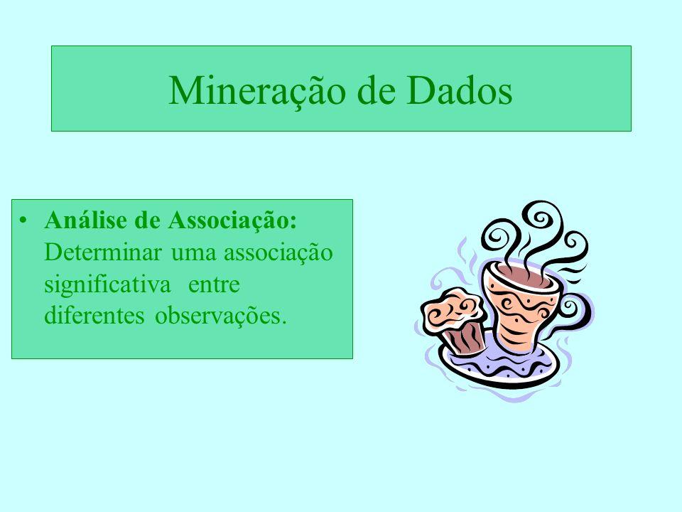 Mineração de Dados Análise de Associação: Determinar uma associação significativa entre diferentes observações.