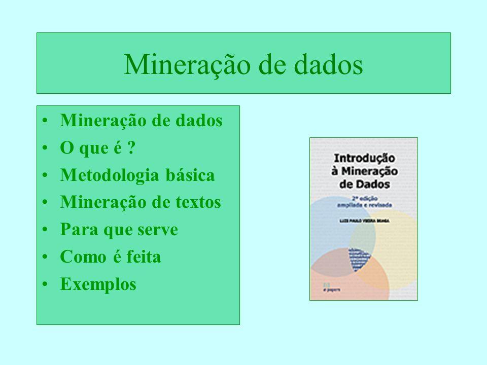 Mineração de dados Mineração de dados O que é Metodologia básica