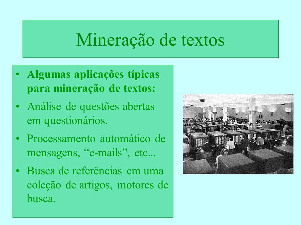 Mineração de textos Algumas aplicações típicas para mineração de textos: Análise de questões abertas em questionários.