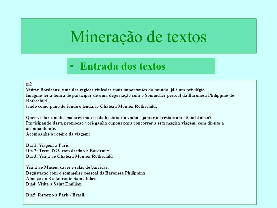 Mineração de textos Entrada dos textos m2