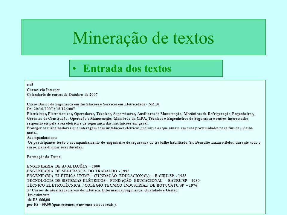 Mineração de textos Entrada dos textos m3 Cursos via Internet
