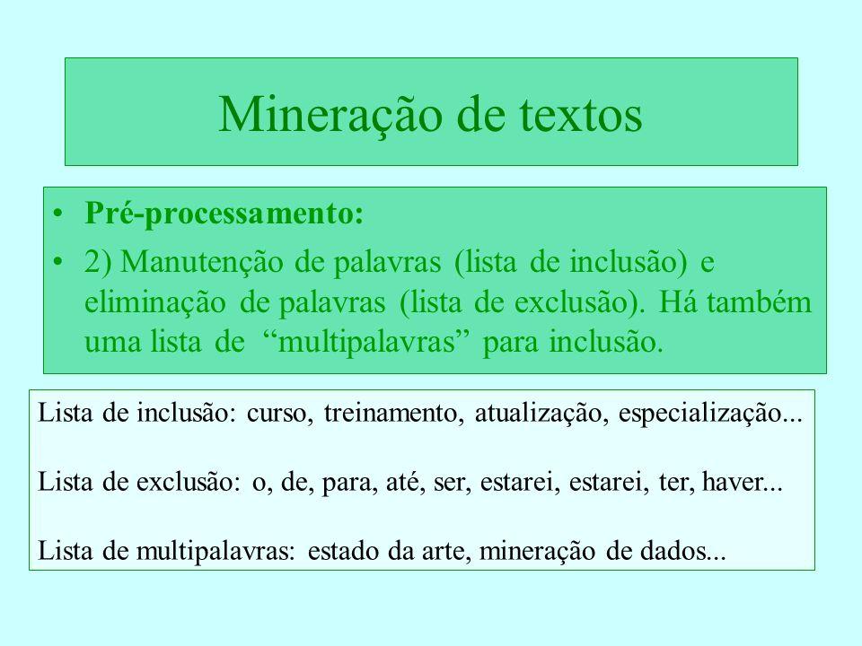Mineração de textos Pré-processamento: