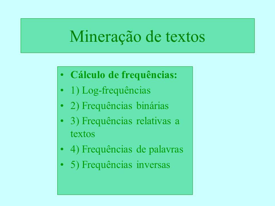 Mineração de textos Cálculo de frequências: 1) Log-frequências