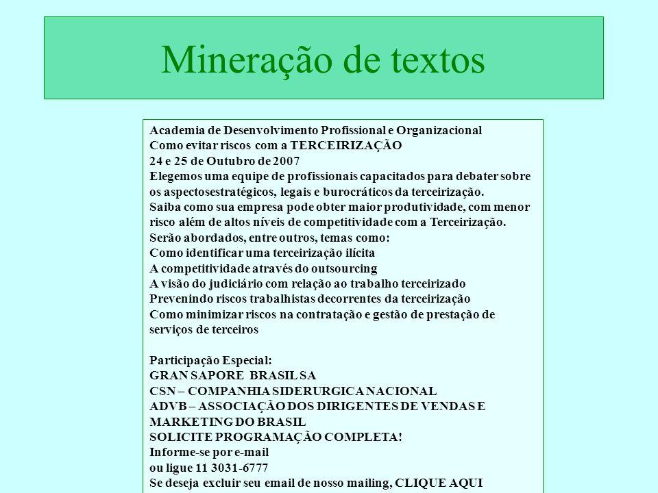 Mineração de textos Academia de Desenvolvimento Profissional e Organizacional. Como evitar riscos com a TERCEIRIZAÇÃO.